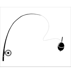 Fishing rod on white backdrop vector