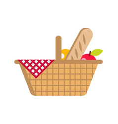flat picnic basket with food vector image