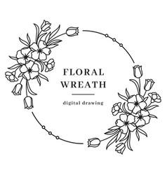 Floral wreath flower circle monogram vector
