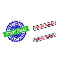 Funny jokes rosette and rectangle bicolor seals vector