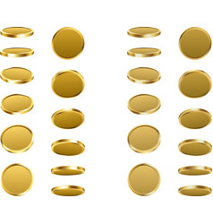 gold revolving coins isolated on white vector image
