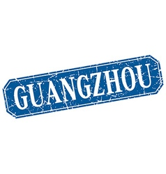 Guangzhou blue square grunge retro style sign vector