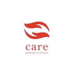 Hand care logo design template care icon vector