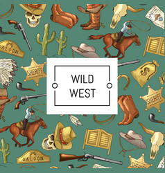 hand drawn wild west cowboy background with vector image