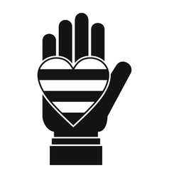 Hand holding heart of LGBT icon simple style vector image