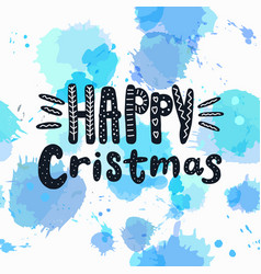 happy christmas isolated text hand drawn vector image