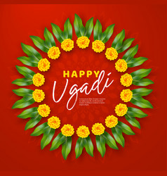 happy ugadi holiday composition vector image