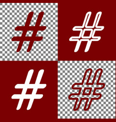 hashtag sign bordo and white vector image
