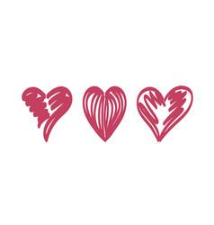 Hearts temp stroke dark red vector