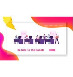 human and robots working together website landing vector image