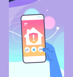 human hand using mobile app for smart house system vector image