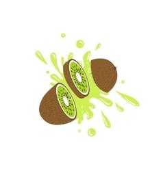Kiwi Cut In The Air Splashing The Juice vector image