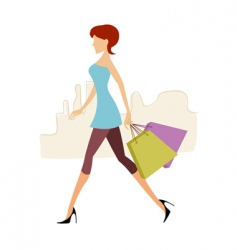 lady with shopping bags vector image vector image