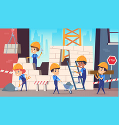 Little builders boys funny making professional vector