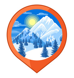 location mark winter landscape with snowy vector image