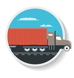 Logistics icon with commercial freight truck vector