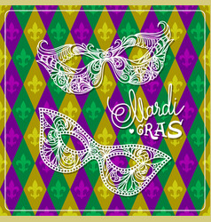 mardi gras carnival mask on rhombus background vector image