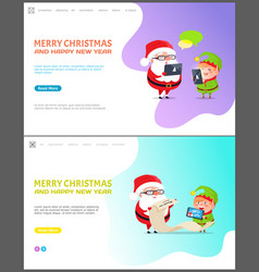 merry christmas and happy new year web page set vector image