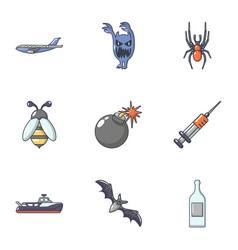 Mortal danger icons set cartoon style vector
