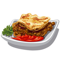 Moussaka and sauce vector