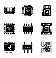 nano chip icons set simple style vector image