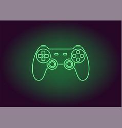 Neon icon of green joystick vector