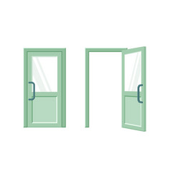 open and closed green door flat vector image