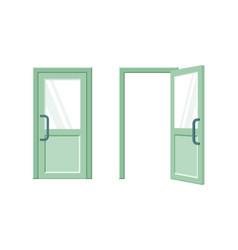 Open and closed green door flat vector