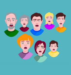 people horror faces extremely surprised vector image
