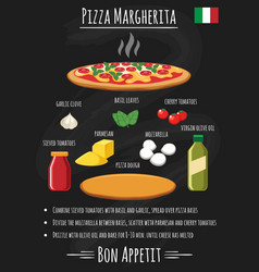 Pizza margherita on chalkboard recipe poster vector