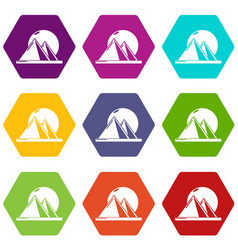 Pyramid egypt icons set 9 vector