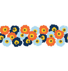 Seamless flower border red orange and blue vector