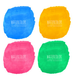 set four watercolor stain textures vector image