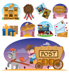 Set of drawings on the theme of old mail express vector