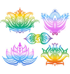 set of ornamental lotus flowers vector image