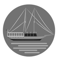 Ship icon gray monochrome style vector
