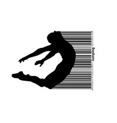 Silhouette of a jumping man and barcode vector