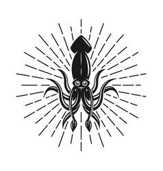 Squid with rays monochrome vector