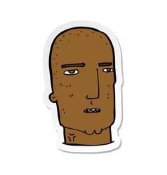 Sticker of a cartoon bald tough guy vector