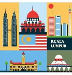 Symbols of Kuala Lumpur vector image