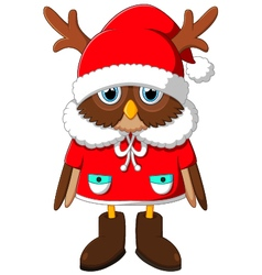 The image owl with Santa reindeer vector