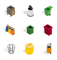 Trash can icons isometric 3d style vector