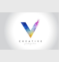 V paintbrush letter design with watercolor brush vector