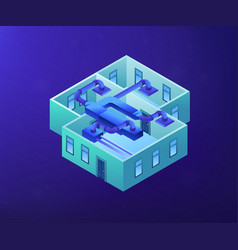 Ventilation system concept isometric vector