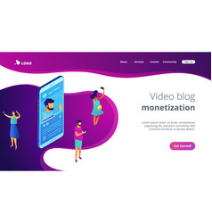 vlog isometric 3d landing page vector image