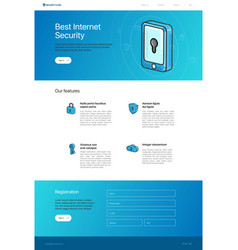 Website template layout for security landing page vector