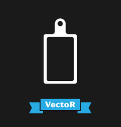 White cutting board icon isolated on black vector