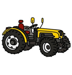 Yellow open tractor vector
