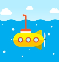Yellow submarine explore under the ocean vector