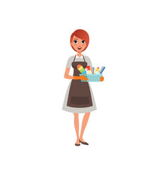 Young girl holding plastic box with cleaning vector